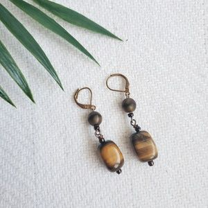 Free🔸️Dangly Cats Eye Beaded Drop Earrings